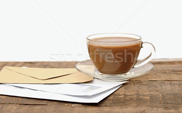 Foto stock: Vidro · xícara · de · café · secretária · escritório · textura
