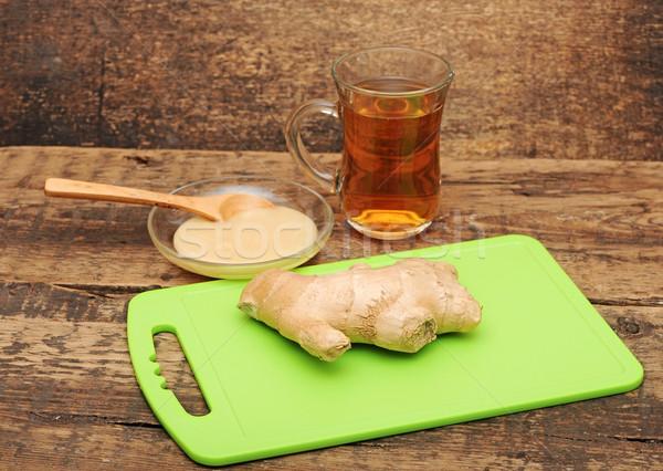 Sağlıklı zencefil çay ahşap gıda meyve Stok fotoğraf © inxti