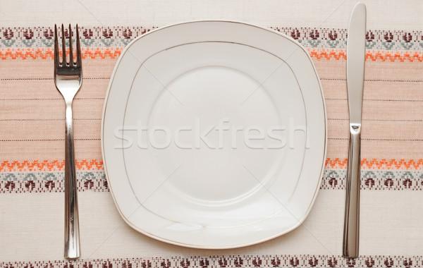 Cuchillo blanco placa tenedor mantel textura Foto stock © inxti
