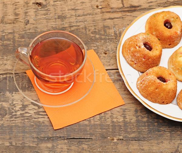 Chá da tarde servido mesa de madeira laranja Foto stock © inxti