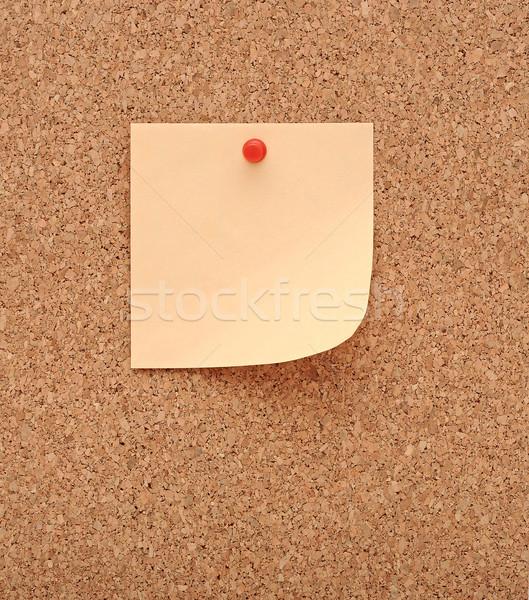 Placa de cortiça nota escritório papel amarelo agulha Foto stock © inxti