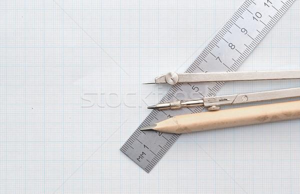 Mértan szett grafikon papír iránytű építészet Stock fotó © inxti