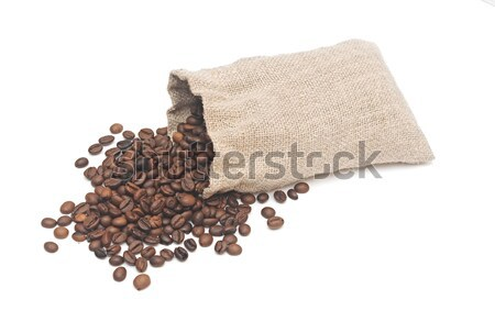 Grains de café toile de jute sac isolé blanche café Photo stock © inxti