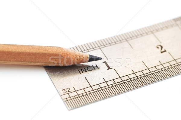 Acél vonalzó fa ceruza papír grafikon Stock fotó © inxti