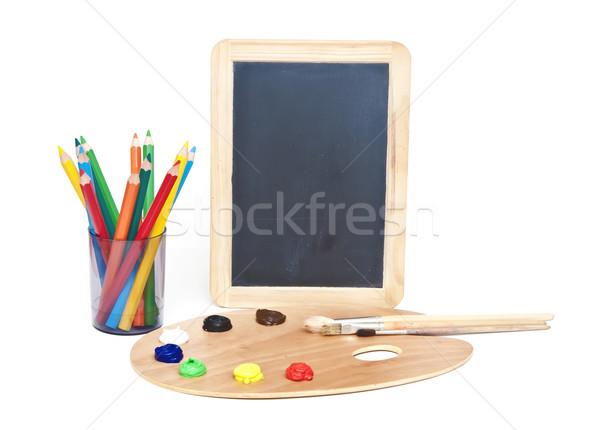 Óleo prancheta colorido lápis pequeno escolas Foto stock © inxti