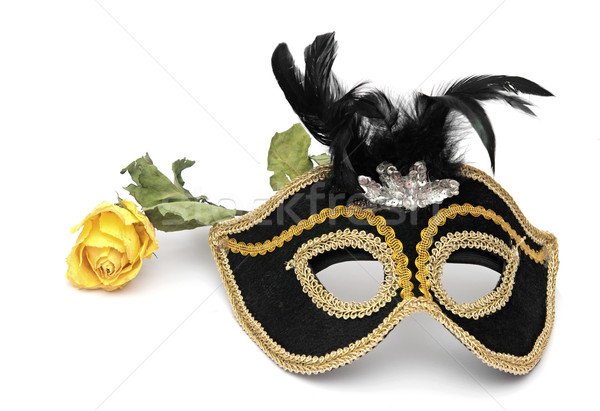 carnival mask and rose isolated on white background  Stock photo © inxti