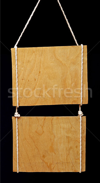 wooden sign on black background  Stock photo © inxti