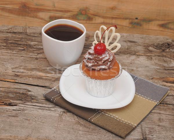 ストックフォト: チョコレート · 桜 · コーヒーカップ · 食品 · 木材