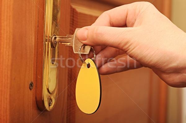 Hand, women are unlocked door Stock photo © inxti