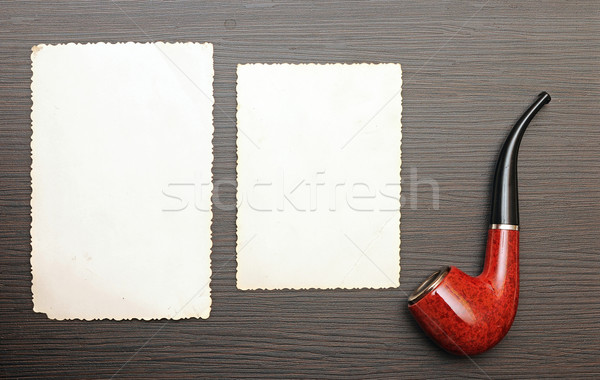 Vecchia foto pipe legno carta sfondo frame Foto d'archivio © inxti