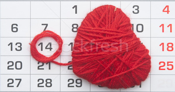 Calendar, by February 14 and shape red heart.  Stock photo © inxti