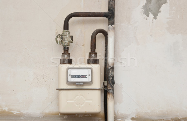 Gas meter in a house under renewal  Stock photo © inxti