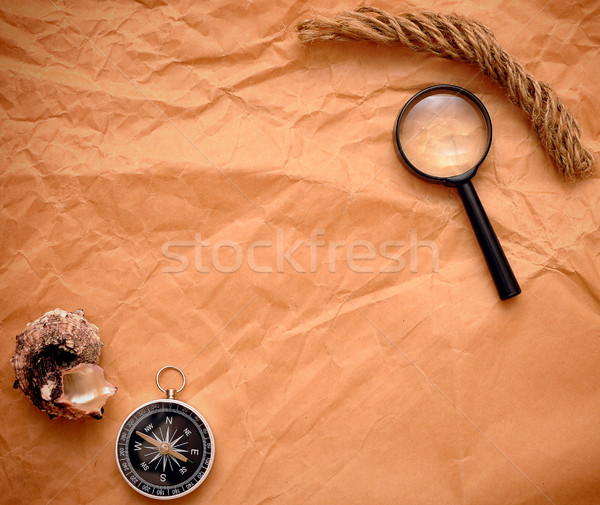 rope, compass and loupe on grunge background Stock photo © inxti