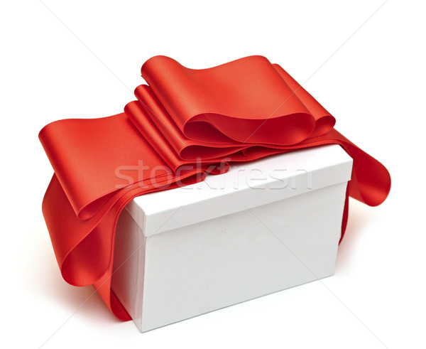 Csomagolás vörös szalag ajándék fehér házasság ajándék Stock fotó © inxti