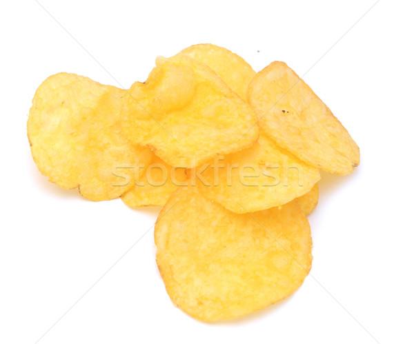 Sózott burgonyaszirom narancs kövér fehér chip Stock fotó © inxti