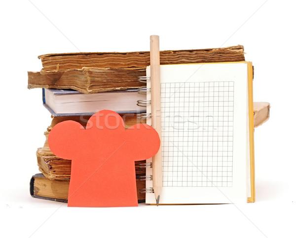 Papír forma szakács sapka boglya könyvek notebook Stock fotó © inxti