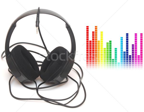 Foto stock: Imagen · gráfico · ecualizador · cabeza · teléfonos · música