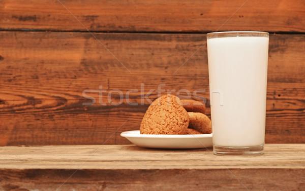 Stock fotó: üveg · tej · zab · sütik · fából · készült · asztal