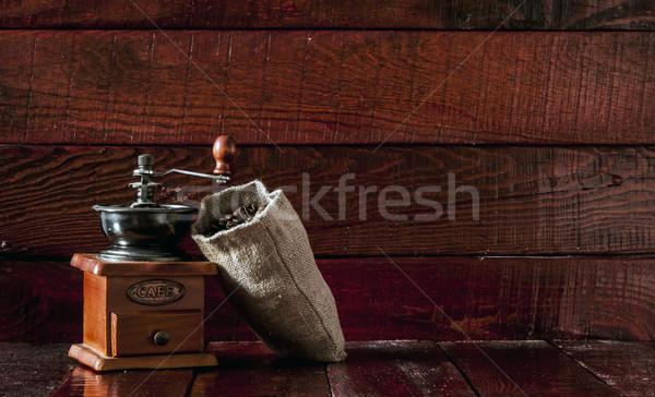Café moinho pano de saco saco completo Foto stock © inxti