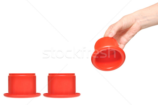 Stock photo: female hand picks up a box from a row of boxes. You can add text
