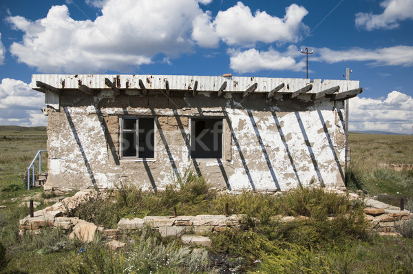 Stock photo: The thrown no name old rural shed concrete plates