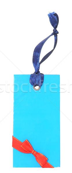 подарок тег красный лук изолированный белый Сток-фото © inxti