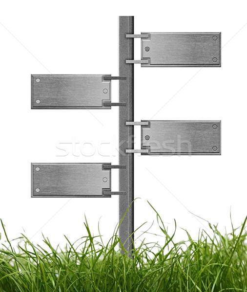Metal tabelasını yeşil ot beyaz çim arka plan Stok fotoğraf © inxti