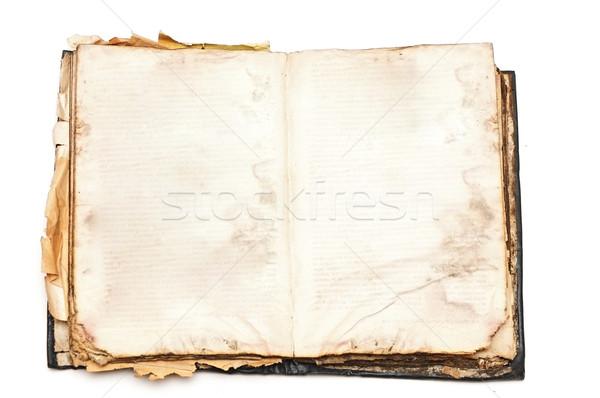 Starej książki otwarte odizolowany biały papieru książki Zdjęcia stock © inxti