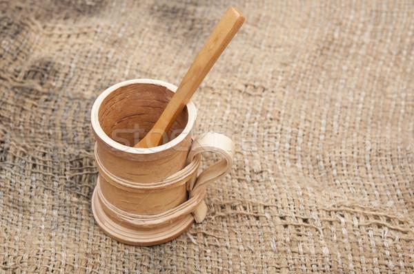 wooden utensils on old worn burlap Stock photo © inxti