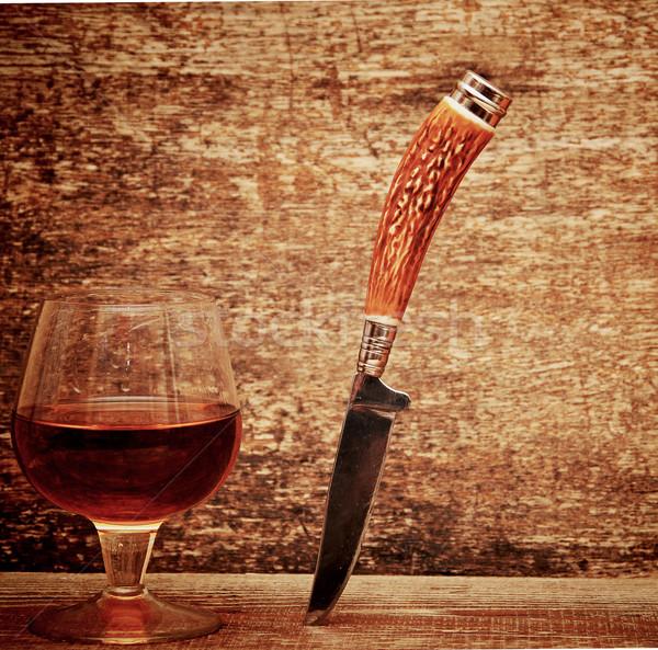 Couteau cognac bois verre hommes boire Photo stock © inxti