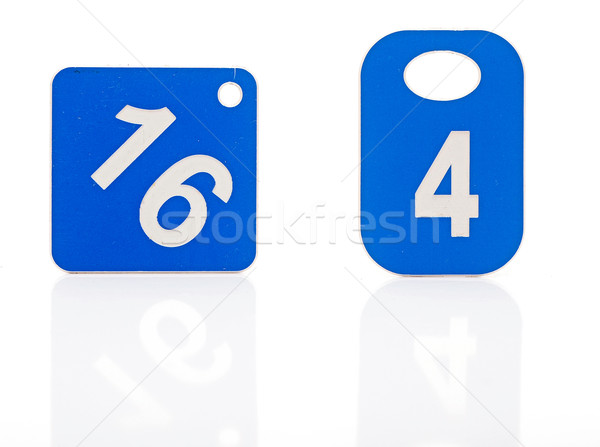 Dois azul plástico etiqueta dígito branco Foto stock © inxti