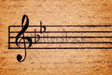 Stockfoto: Muziek · merkt · oud · papier · vel · kunst · teken · zwarte