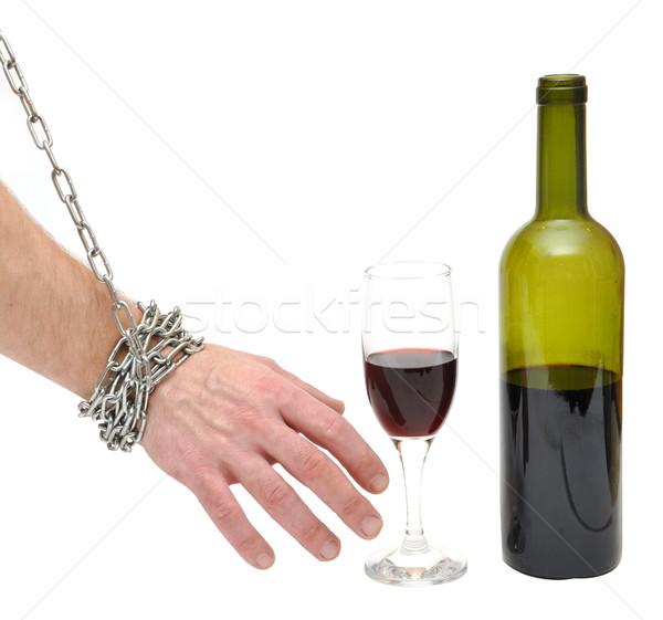 Stop alkoholizmus kéz üveg férfi üveg Stock fotó © inxti