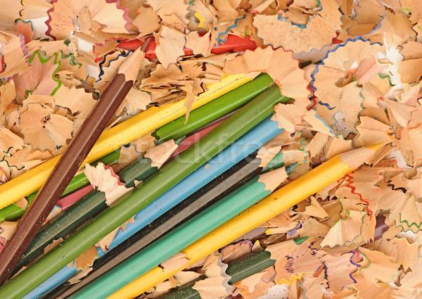Halom színesceruza izolált fehér hát vissza az iskolába Stock fotó © inxti