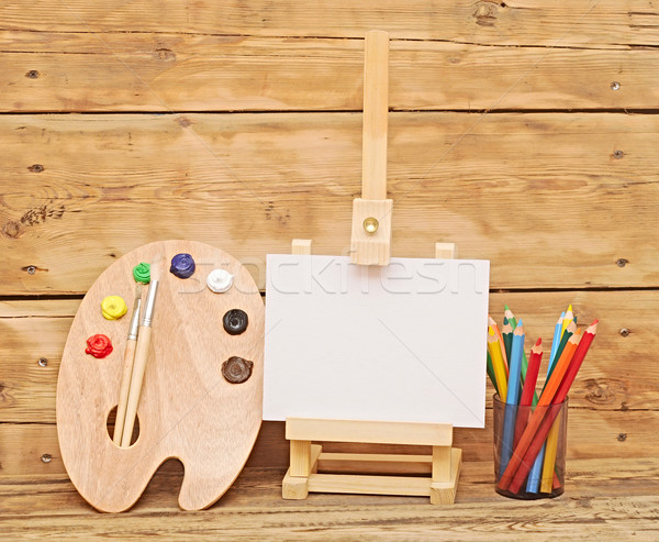 Houten schildersezel schone papier palet Stockfoto © inxti