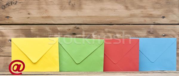 Foto stock: E-mail · símbolo · colorido · velho · madeira