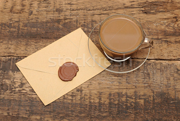 Enveloppe cire sceau table basse papier arbre Photo stock © inxti
