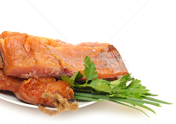 pile smoked fish on a white background Stock photo © inxti