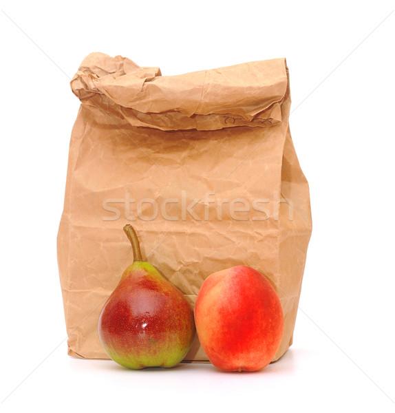 école déjeuner sac fruits frais blanche enfants Photo stock © inxti
