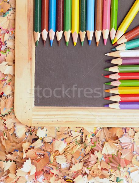 Colorful pencil on blank blackboard Stock photo © inxti
