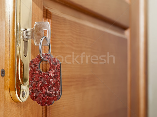 Schlüssel Schlüsselloch Label Holz Hotel Innenraum Stock foto © inxti
