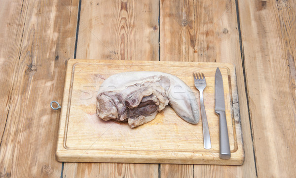 Tongue. Raw meat food on wooden board Stock photo © inxti