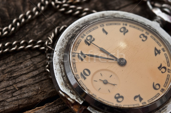 Old pocket watch on a rustic vintage wooden background Stock photo © inxti