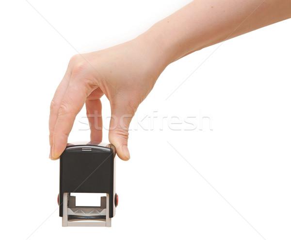 Kéz bélyeg iratok fehér üzlet papír Stock fotó © inxti