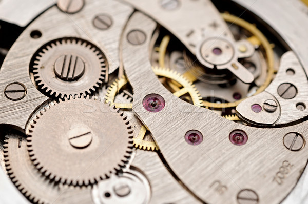 gears and mainspring in the mechanism of a pocket watch (pocketw Stock photo © inxti