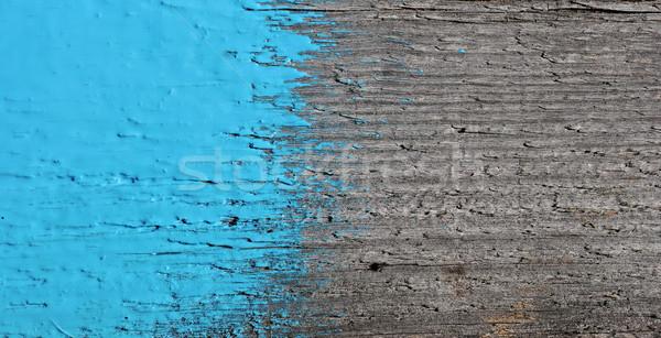 Stockfoto: Blauw · verf · oude · houten · hout · achtergrond
