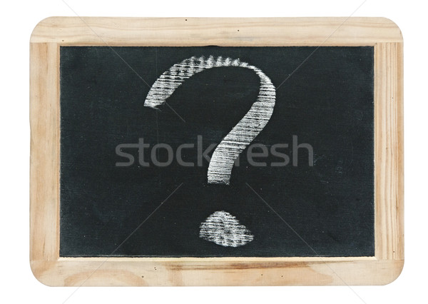 question mark - white chalk drawing on small blackboard isolated Stock photo © inxti