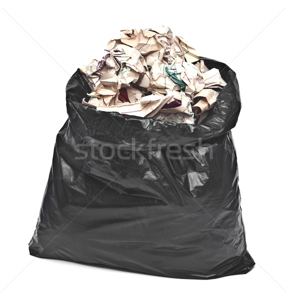 black garbage bag with trash isolated on white  Stock photo © inxti