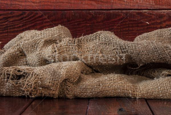 黄麻布 テクスチャ 木製のテーブル デザイン ファブリック 袋 ストックフォト © inxti