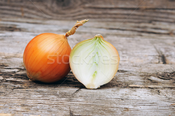 organic onions on wooden background  Stock photo © inxti